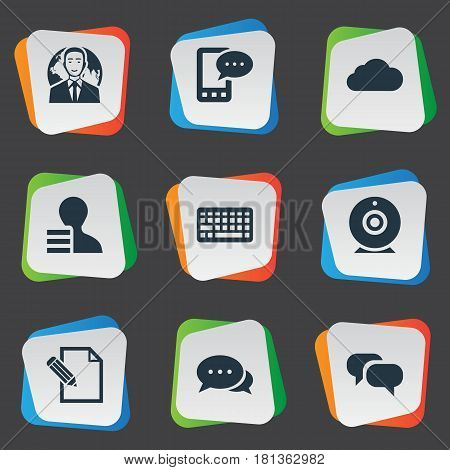 Vector Illustration Set Of Simple User Icons. Elements Overcast, Broadcast, E-Letter And Other Synonyms Phone, Speech And Keypad.