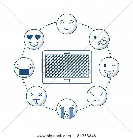 tablet device with cartoon faces around over white background. vector illustration