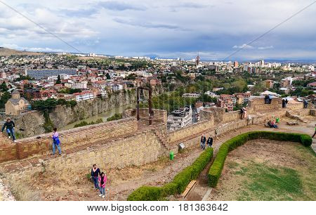 Narikala Fortress And View Of Tbilisi. Georgia.