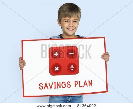 Boy holding banner financial trading investment calculating illustration