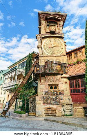 Rezo Gabriadze Marionette Theater Clock Tower In Tbilisi Georgia.