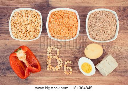Vintage Photo, Ingredients Containing Vitamin B6 And Dietary Fiber, Concept Of Healthy Nutrition