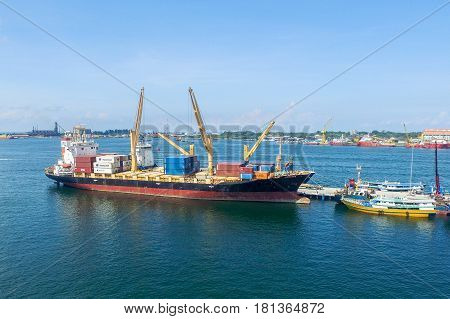Labuan,Malaysia-Apr 13,2017:Aerial view of shipping containers waiting to be loaded on a cargo ship in Labuan port,Malaysia on 13th April 2017