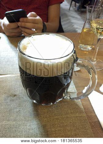 Czech Dark Beer Stein On A Table