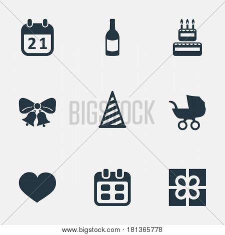 Vector Illustration Set Of Simple Holiday Icons. Elements Confectionery, Soul, Resonate And Other Synonyms Baby, Cap And Sweetmeat.