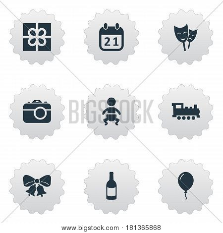 Vector Illustration Set Of Simple Celebration Icons. Elements Camera, Aerostat, Special Day And Other Synonyms Resonate, Calendar And Camera.