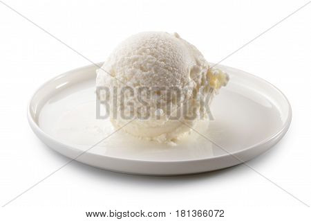 ice cream scoop on plate close-up isolated on white background