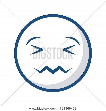 Confounded cartoon face icon over white background. vector illustration