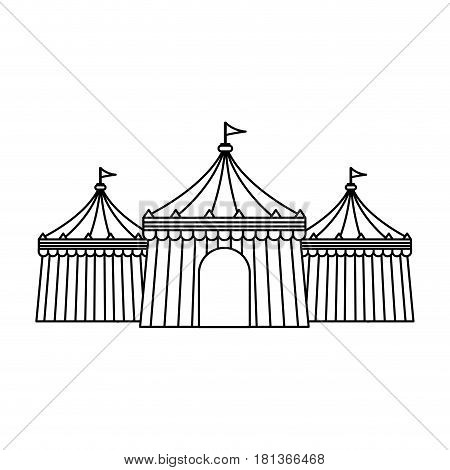 circus tent icon over white background. vector illustration