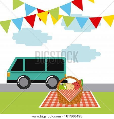 picnic tablecloth with basket with food. colorful design. vector illustration