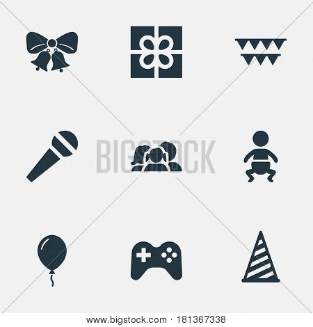 Vector Illustration Set Of Simple Holiday Icons. Elements Box, Game, Domestic And Other Synonyms Flags, Voice And Present.