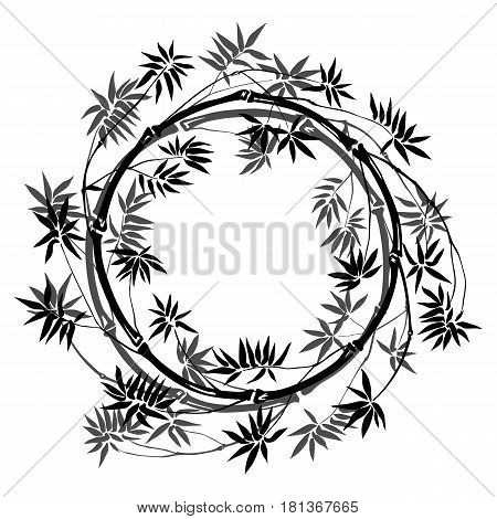 Bamboo round frame on white background. Tropical mock up, nature textile print, template with text place.
