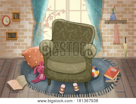 Cute Living Room. Video Game's Digital CG Artwork, Concept Illustration, Realistic Cartoon Style Background