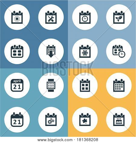 Vector Illustration Set Of Simple Plan Icons. Elements Intelligent Hour, Date, Snowflake And Other Synonyms Winter, April And Almanac.