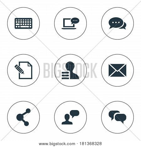 Vector Illustration Set Of Simple User Icons. Elements Man Considering, Share, Document And Other Synonyms Considering, Share And Discussion.