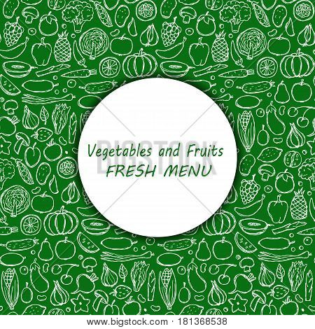 Menu cover of vegetarian hand drawn doodle food elements. Vector illustration for backgrounds, covers, posters, menu
