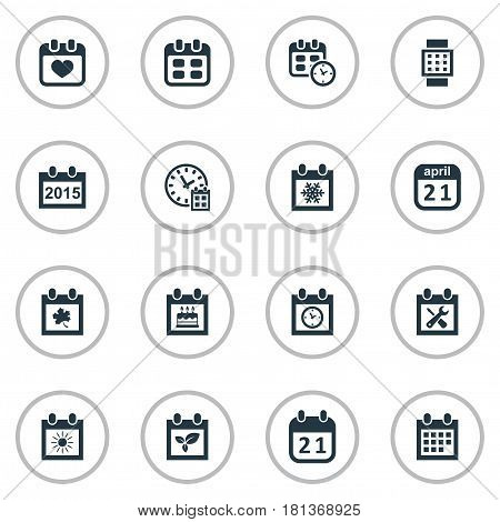 Vector Illustration Set Of Simple Time Icons. Elements Date Block, Leaf, Heart And Other Synonyms April, Block And Smart.