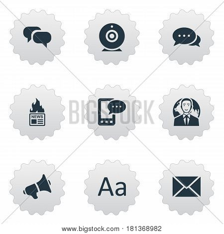 Vector Illustration Set Of Simple Blogging Icons. Elements E-Letter, International Businessman, Gazette And Other Synonyms Alphabet, Missive And Loudspeaker.