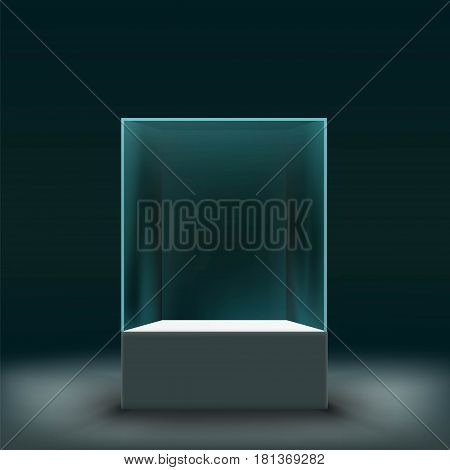 Glass showcase for the exhibition in the form of a cube. Stock vector illustration.