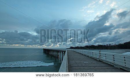 San Simeon Pier at sunset on the Central Coast of California USA