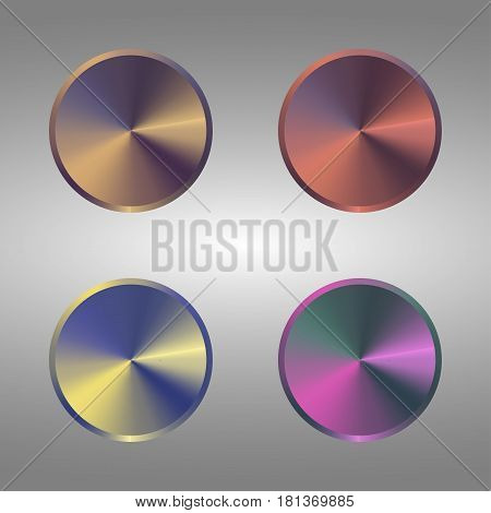 Set of metallic rainbow buttons. Four Volume Control Dial Button