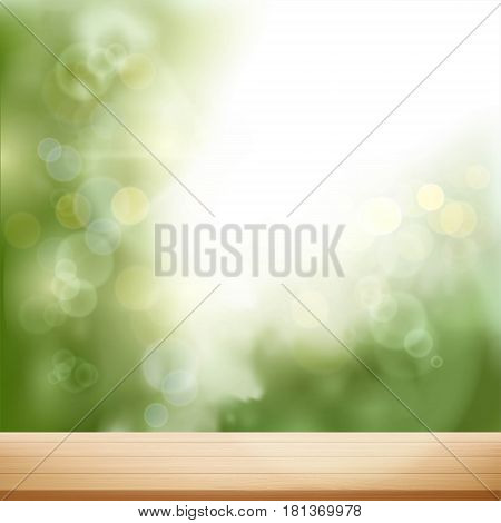 Wooden table on blurred natural background. Stock vector illustration.