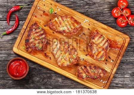 Delicious Juicy Pork Chops, Top View