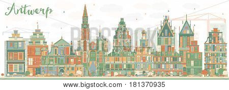 Abstract Antwerp Skyline with Color Buildings. Business Travel and Tourism Concept with Historic Architecture. Image for Presentation Banner Placard and Web Site.