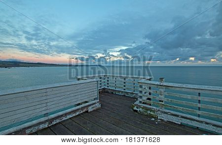 San Simeon Public Pier At Sunset On The Central Coast Of California Usa