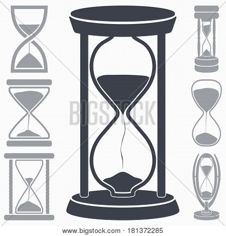 Hourglass icon. Symbol of Time. Set of Seven Vector Sandglass Pictographs