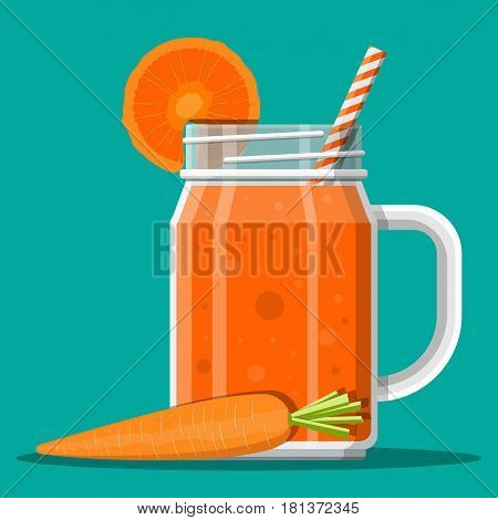 Jar with carrot smoothie with striped straw. Glass for cocktails with handle. Carrot fresh vegetable. Vector illustration in flat style