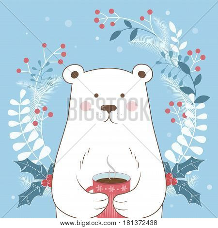 Happy winter holidays. Winter time. Vector illustration. Postcard Happy winter. The image of a polar bear on a blue background.