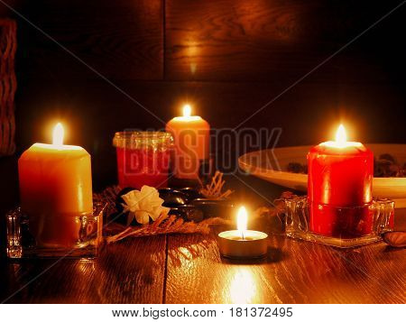 Tranquil scene with candles. Area for meditation and relaxation