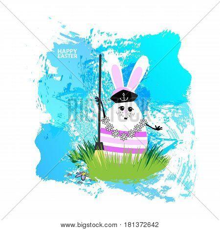 Easter Illustration For Your Design Egg-rabbit