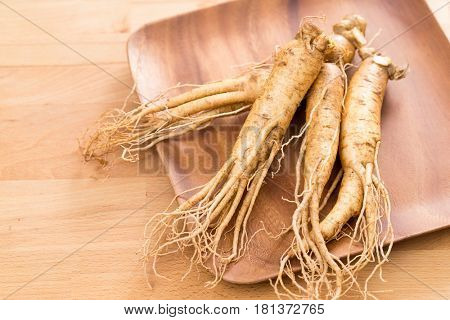 Korean Ginseng over wooden plate