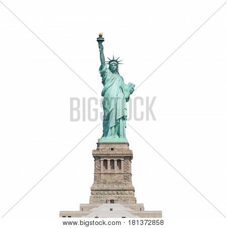 Statue Of Liberty Isolated On White Background In New York City, Usa