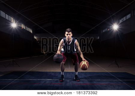 Basketball Player Stationary Double Dribble