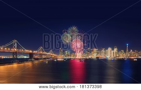 Fireworks' New Year In San Francisco, California, Usa