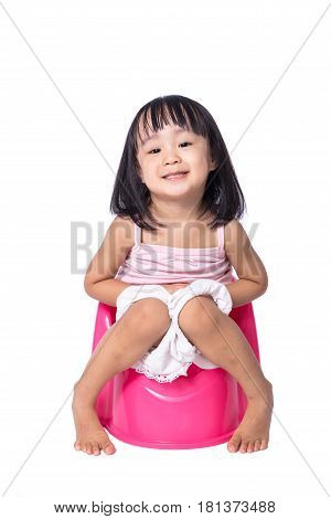 Asian Chinese Little Girl Sitting On Chamberpot
