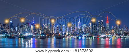 Network And Connection Technology Concept Of Skyline Of New York City,skyscrapers, Downtown, Usa