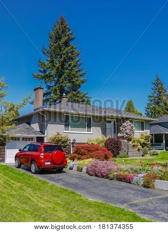 Modest residential house with car parked on asphalt driveway. Family house with blossoming flowers on the front yard