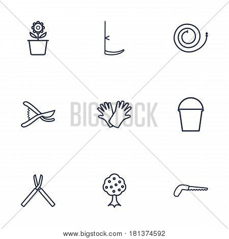 Set Of 9 Horticulture Outline Icons Set.Collection Of Garden, Arm-Cutter, Safer Of Hand Elements.