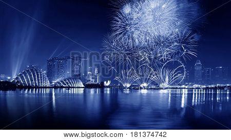 Fireworks at Marina bay sands at night, Singapore