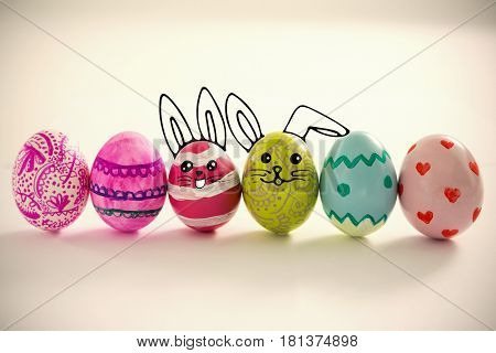 painted easter eggs arranged in row
