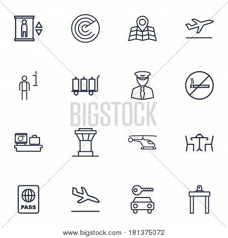 Set Of 16 Airplane Outline Icons Set.Collection Of No Smoking, Airport Security, Car Rent And Other Elements.