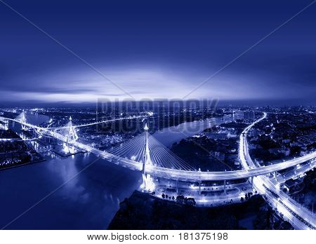 Bhumibol Bridge at night, Bangkok city, Thailand