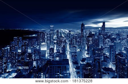 Chicago City Chicago at night, illinois USA