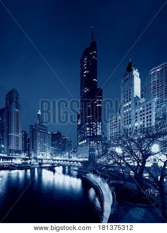 Skyscrapers in Chicago at night, Illinois USA