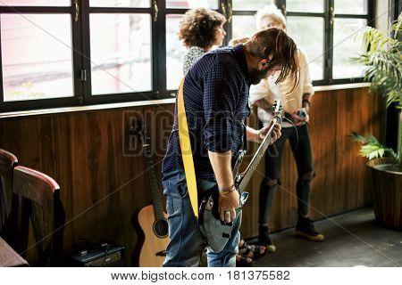 Man Play Base Rehearsal Music Band