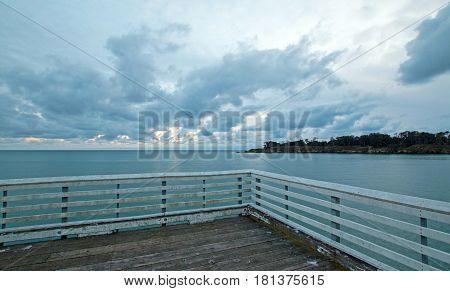 End of San Simeon Public Pier at sunset on the Central Coast of California USA